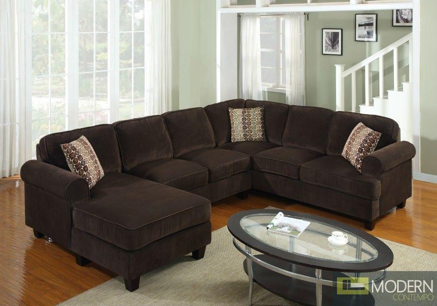 Best 3 Pc Modern Brown Corduroy Sectional Sofa Living Room Set 400 x 300