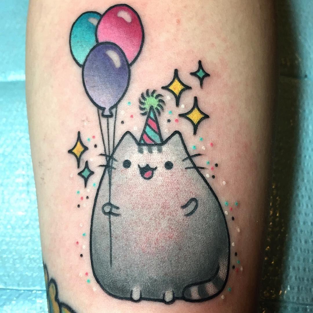 Pusheen birthday party tattoo by alexstrangler tattoo for Birthday tattoo ideas