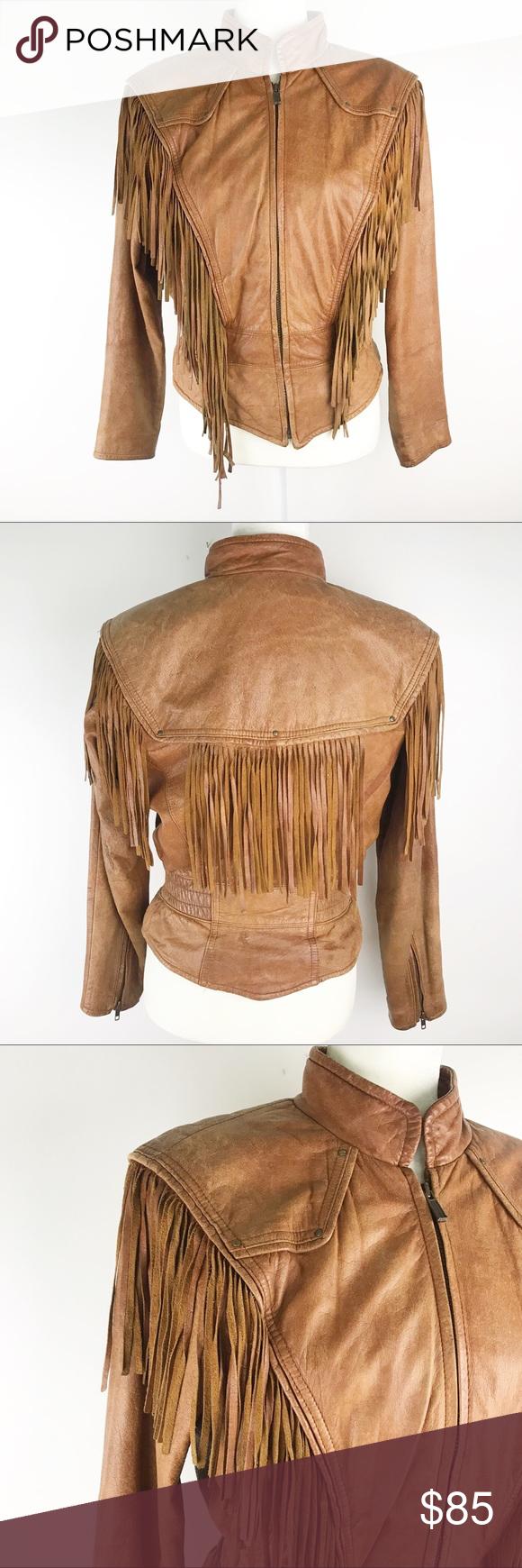 Wilson's Vintage Leather Fringe Boho Jacket S Amazing