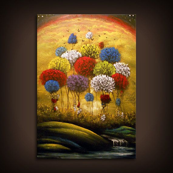 orange blue yellow wall art wall decor home living tree painting art ...