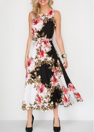 f89eaab3d664e Flower Print Sleeveless Belted Round Neck Dress on sale only US$35.84 now,  buy cheap Flower Print Sleeveless Belted Round Neck Dress at liligal.com
