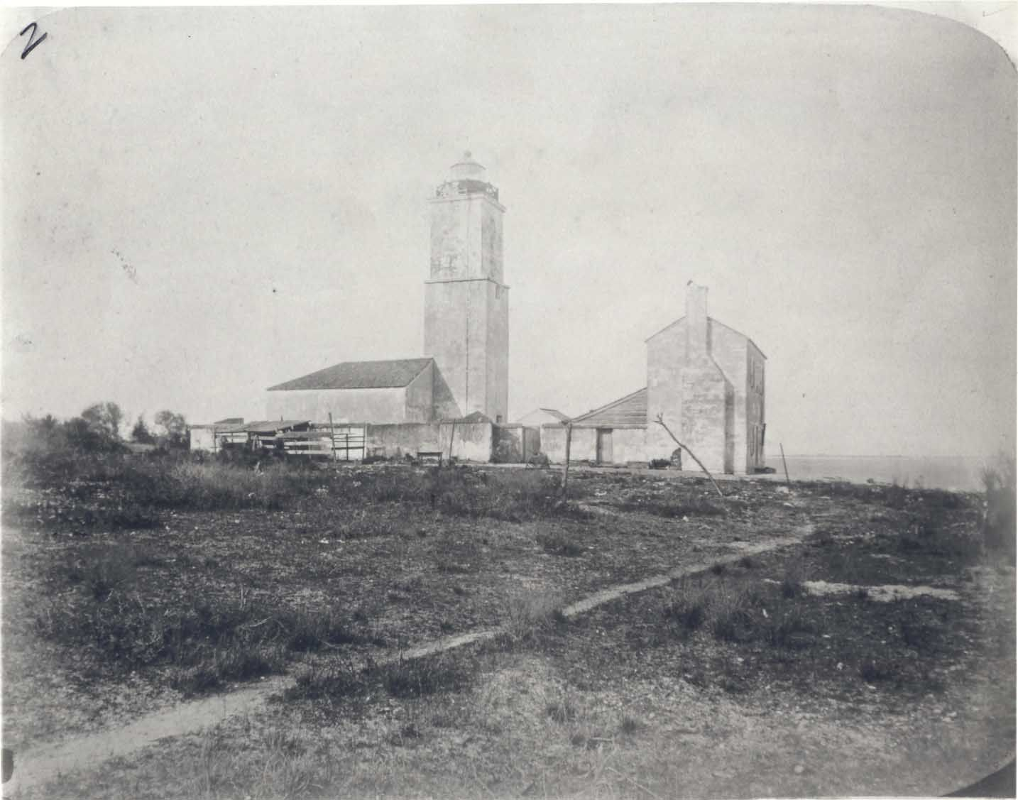 (c. 1860) First St. Augustine Lighthouse, viewed from the west.