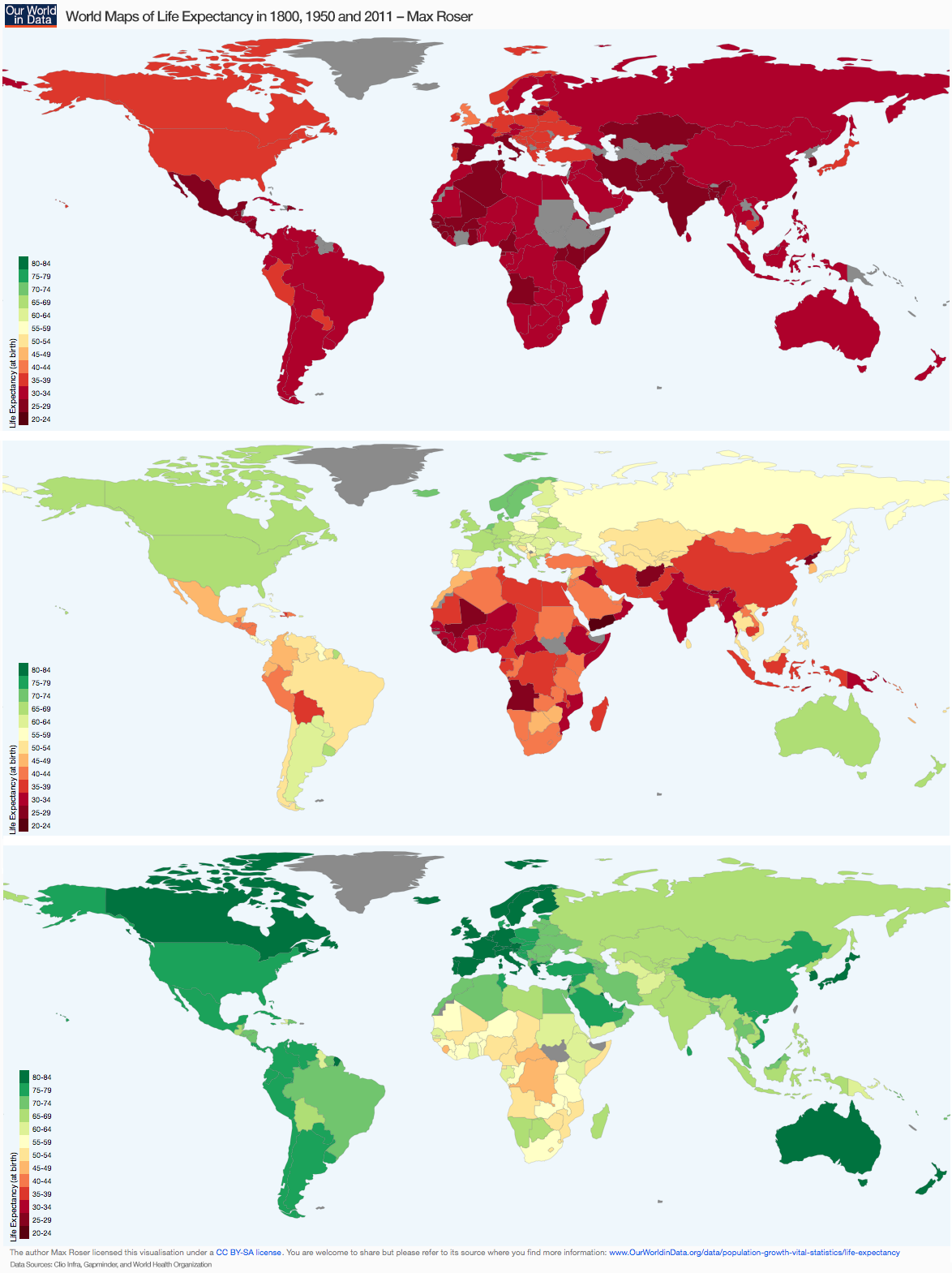 World Maps Of Life Expectancy In 1800, 1950 And 2011_Max Roser
