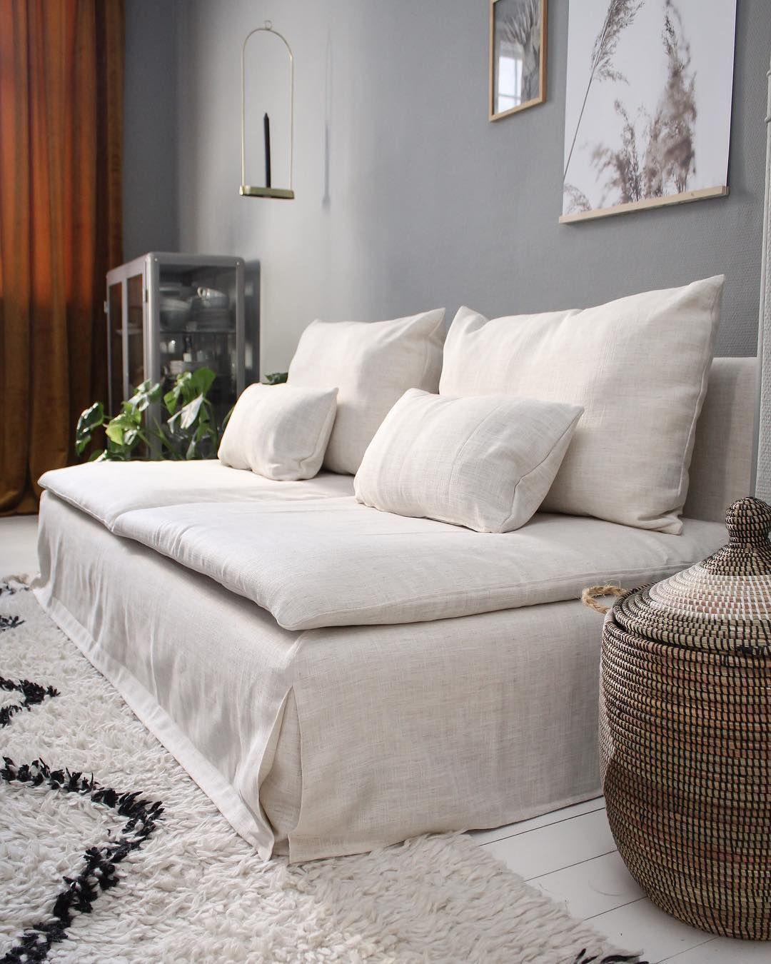 You Can Never Go Wrong With Crisp Clean White Linen Like Majasode White Linen Sofa Ikea Living Room Sofa Ikea Sofa Covers Dream Living Rooms
