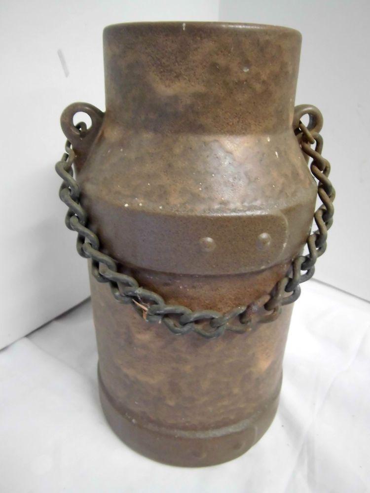 alte Kanne aus Keramik mit Metallkette Krug Milchkanne Antik Vintage ...