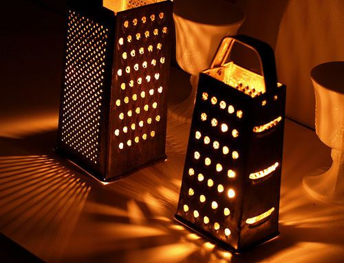 Cheese grater candles