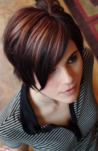 Cranberry And Blonde Over Dark Brown Hairstyles