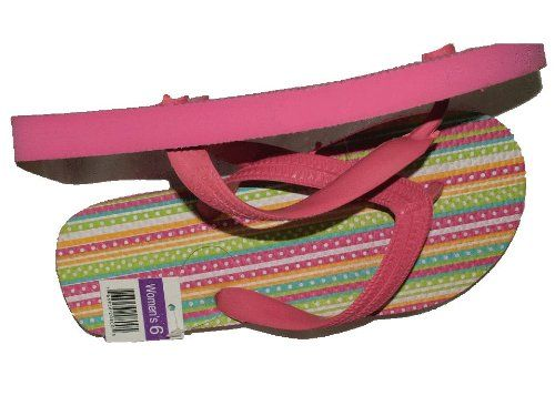 TTT - Pink Dotted Stripes Flip Flops for Women ** Want additional info? Click on the image.