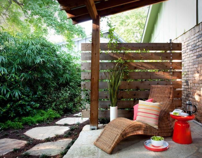 brise vue terrasse en bois et plantes avec chaise longue tout confort - Brise Vue Terrasse Bois