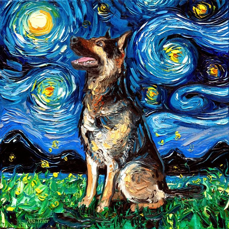 Artist Reimagines Van Gogh S Starry Night With Adorable Dogs