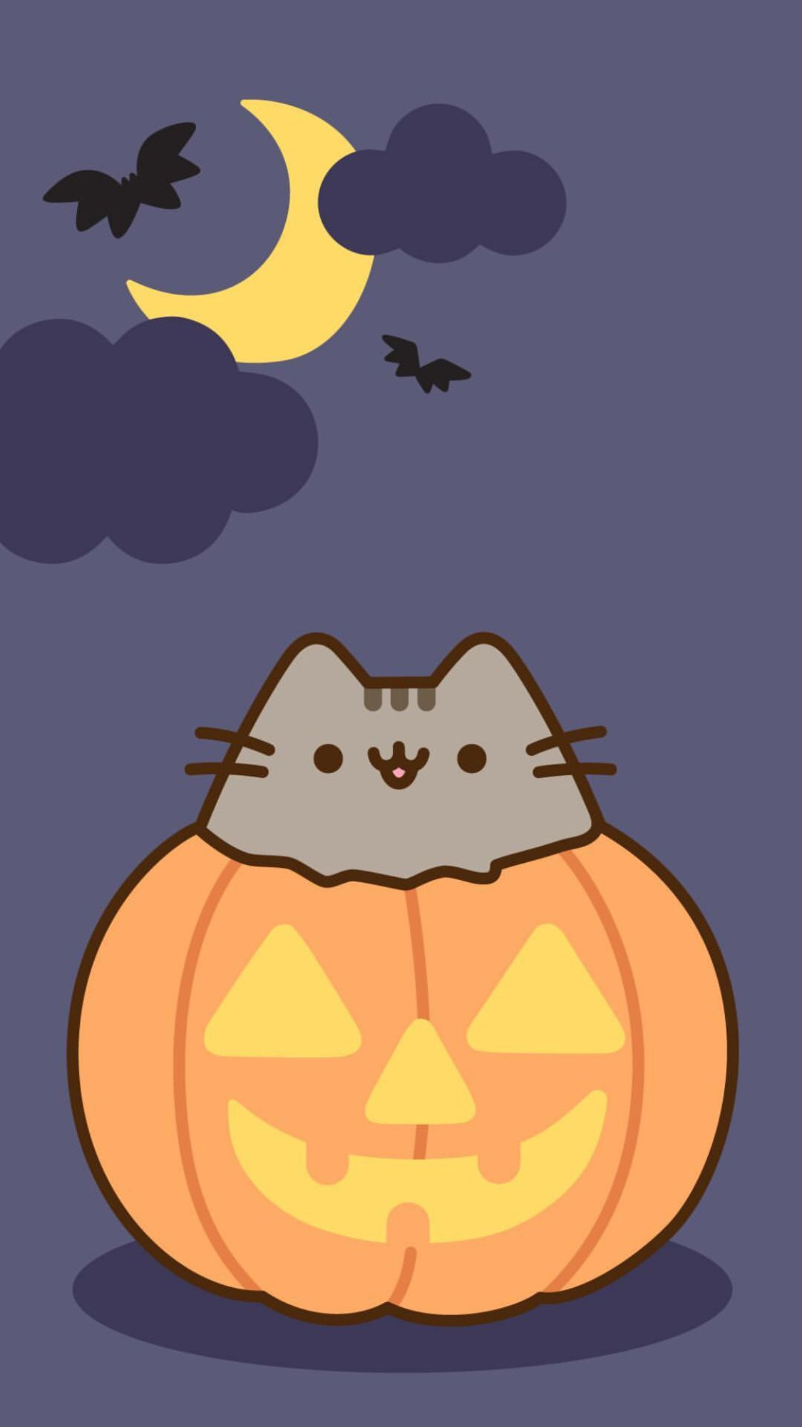 Pin By Susan Sargent On Kawaii Halloween Wallpaper Iphone Pusheen Cute Halloween Wallpaper Cute