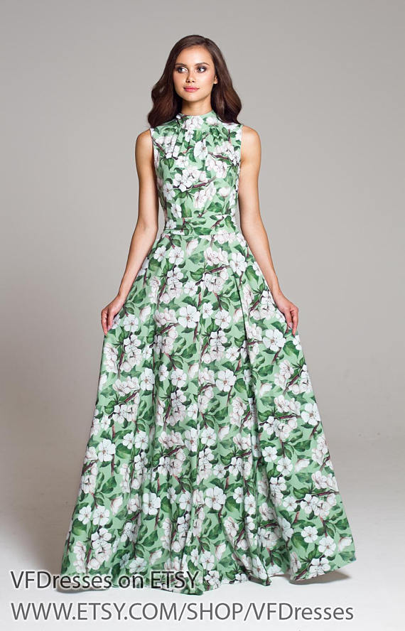 Green Floral Dress Maxi Long Summer Dress Long Dress Formal