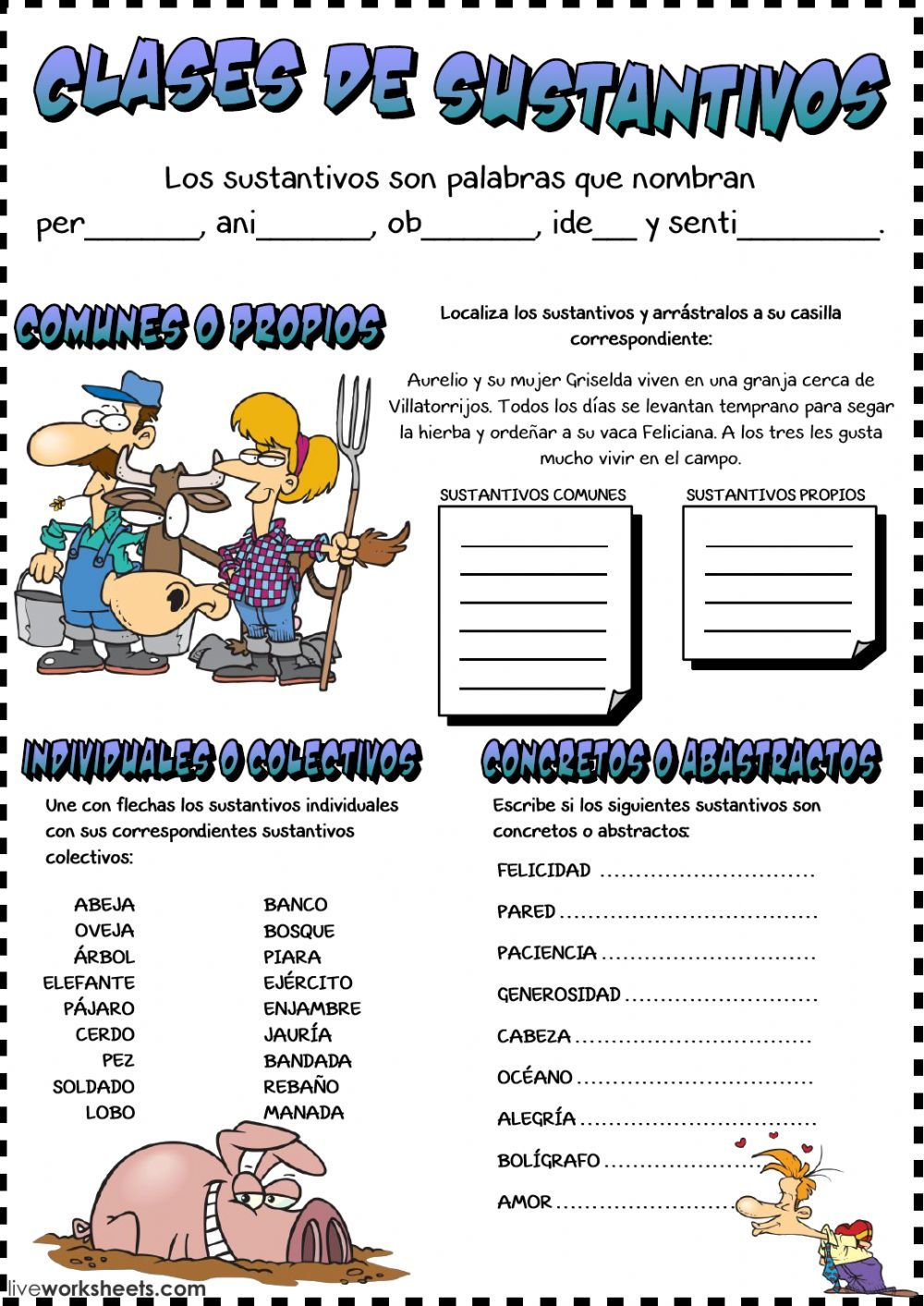 Clases De Sustantivos Interactive And Downloadable Worksheet You Can Do The Exercises Online Or Download T Teaching Prep Kids Math Worksheets Teaching Spanish