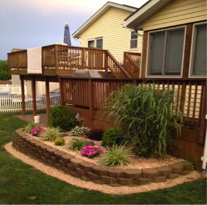 Brick Around Shed With Mulch And Flowers: Mulch & Landscaping Idea For Back Porch. #mulch #brick