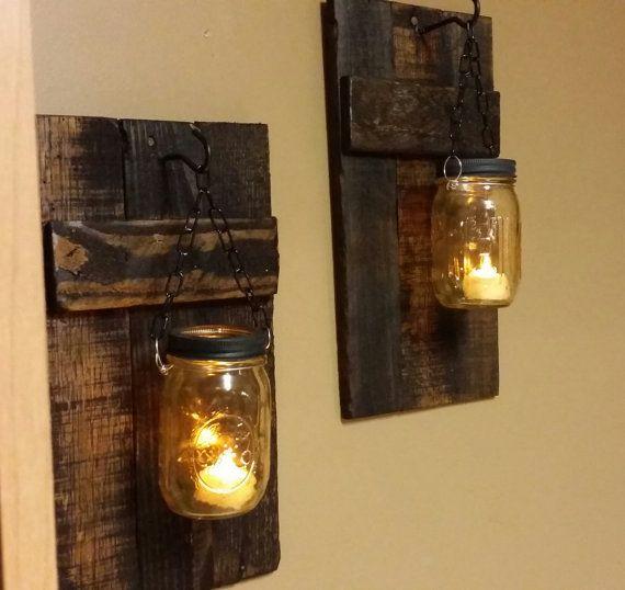 Rustikaler Kerzenhalter aus Holz Rustikales Dekor Wandleuchte Kerze   – stuff