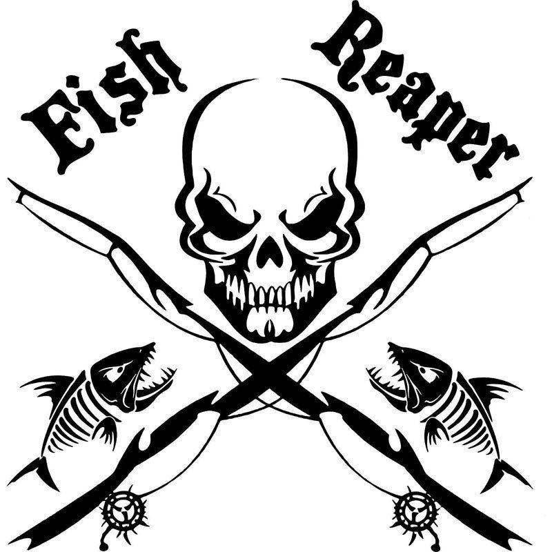 X In Fish Reaper Skull Fishing Rod Car Boat Truck Window Vinyl - Custom vinyl decals for cardeer skull gun rifle hunting car truck window wall laptop vinyl