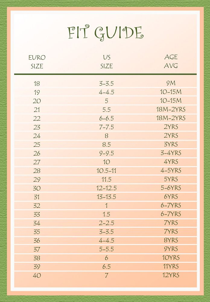 Kids Shoes Size Chart European Shoe Conversion