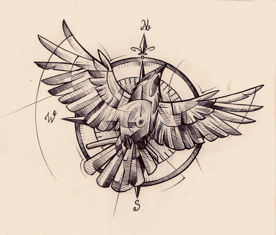 Compass Tattoo Line Drawing : Crow compass tattoo design for a private client i ve been