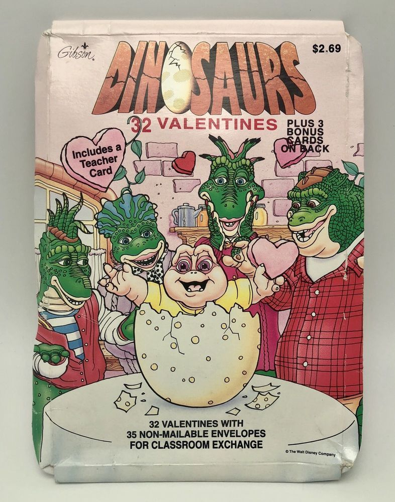 59e2876151 Vintage Disney Dinosaurs TV Show Valentines Day Cards Gibson Not the Mama