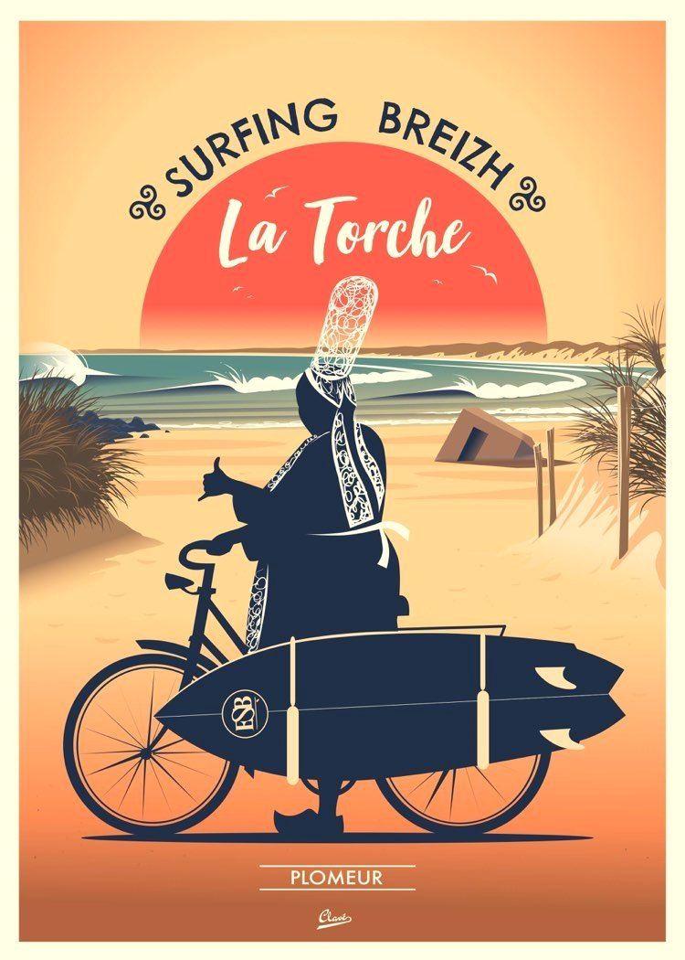 Mavericks Surf Report Affiches De Voyage Retro Art Du Surf Breizh