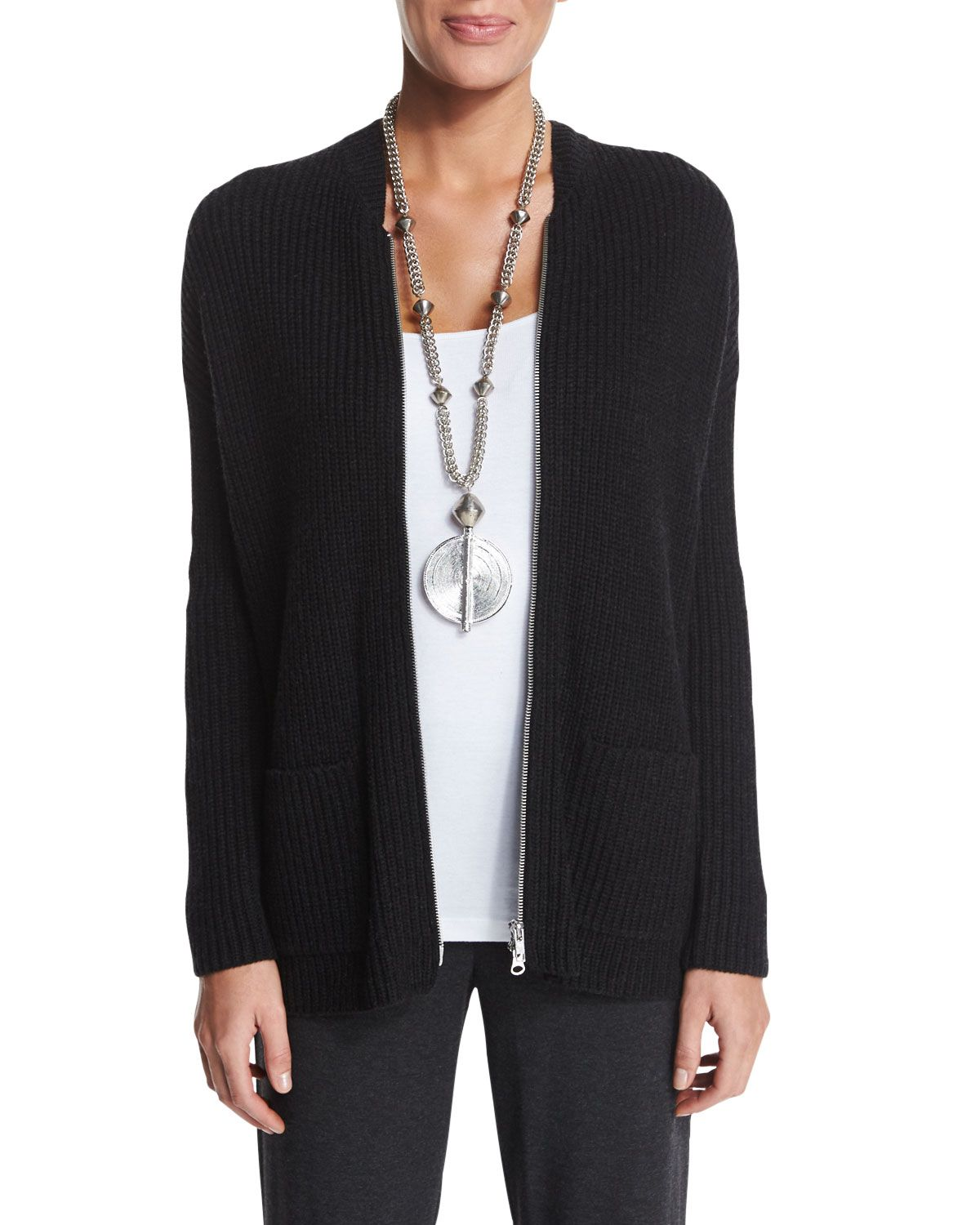 0cb971bd29f Ribbed Zip-Front Cardigan, Moon - Eileen Fisher | *Neiman Marcus ...