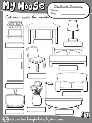 my house picture dictionary 2 b w version ingl s pinterest englisch schule und. Black Bedroom Furniture Sets. Home Design Ideas