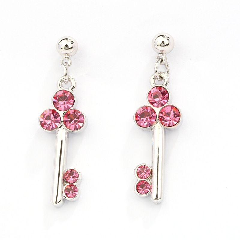 fbeb38247 2016 New fashion girls party silver plated long crystal patry cute key  earrings for girls female brincos earring summer style //Price: $8.99 &  FREE Shipping ...