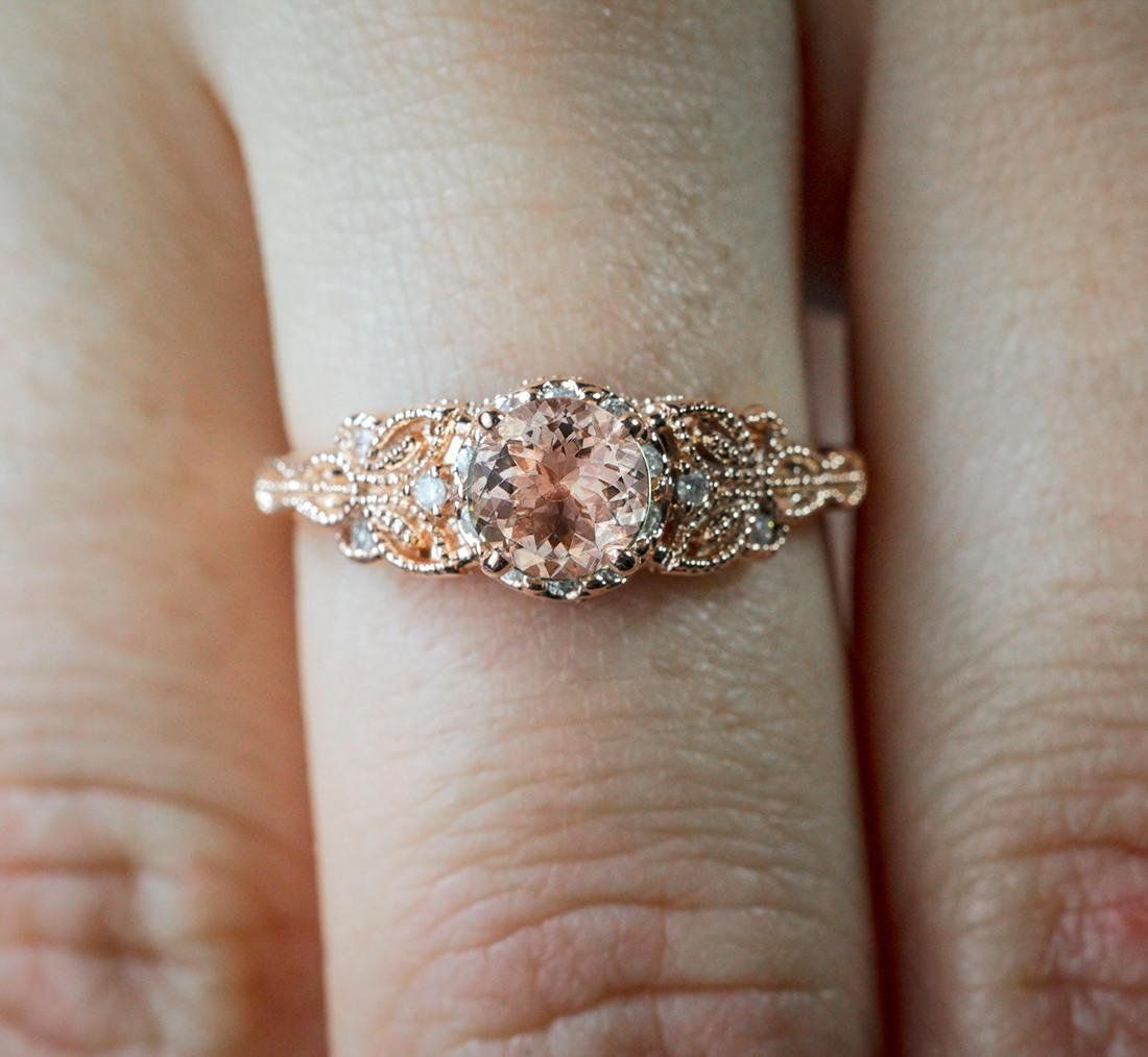 Limited Time Sale 1 25 Carat Peach Pink Morganite Round Shaped Morganite And Diamond En Rose Engagement Ring Vintage Wedding Rings Vintage Wedding Rings Unique
