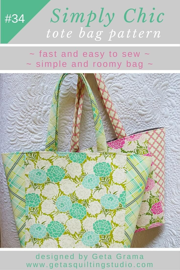 Simply chic tote bag pattern tote bag patterns tote bag and bag easy to follow tote bag pattern sew a quick easy simple and chic jeuxipadfo Choice Image