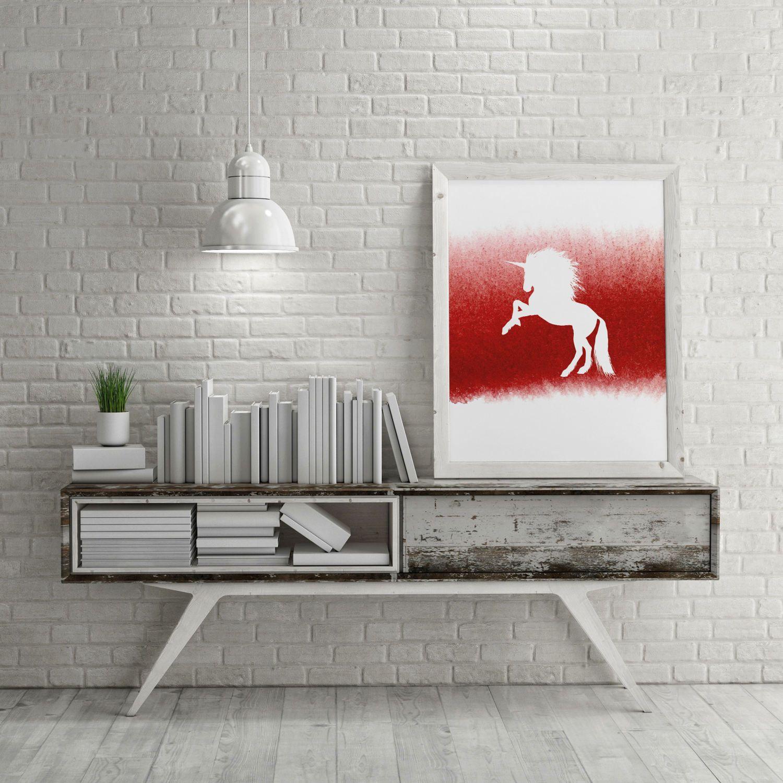White unicorn red watercolour printable wall art minimalist wall