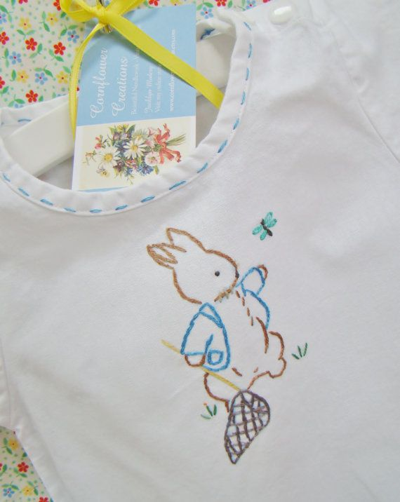 Vintage Linen Baby Girl Onesie Darling Baby Romper White With Embroidery