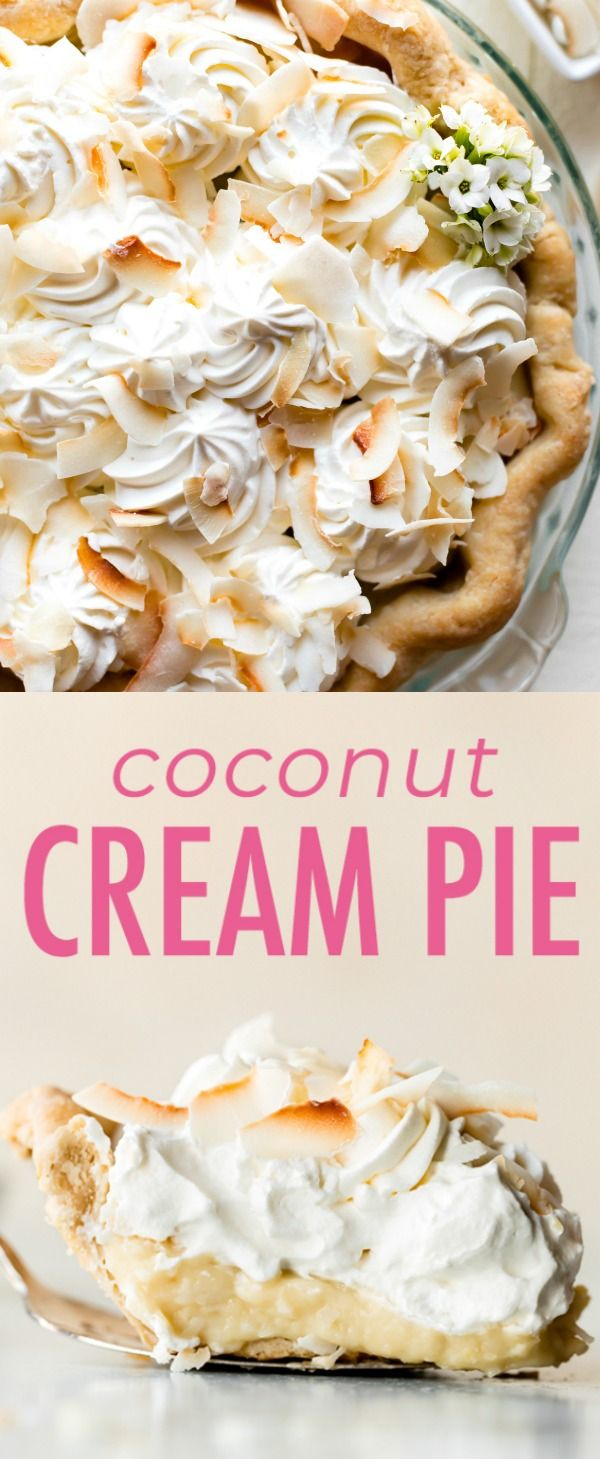 Thick and creamy coconut cream pie! This coconut cream pie recipe combines coconut milk, sweet whipped cream, and real coconut for the best flavor. Recipe on sallysbakingaddiction.com #sugarcreampie