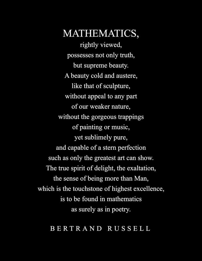 Mathematics Quote Bertrand Russell Literary Poster Etsy Mathematics Quotes Bertrand Quotes