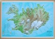 Iceland Raised Relief Map - 1:1.000.000 scale. Printing, raised relief and termo-phorming by Litografia Artistica Cartografica - Map by Mál og menning