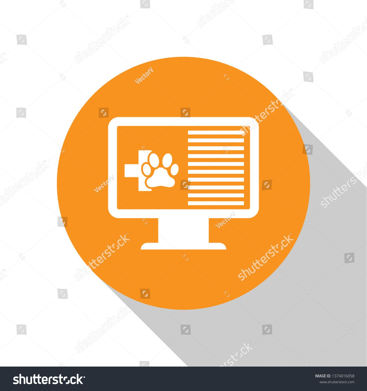 White Medical Clinical Record Pet On Monitor Icon Isolated On