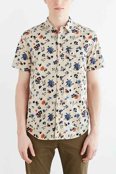 Short-Sleeve Chambray Floral Button-Down Shirt