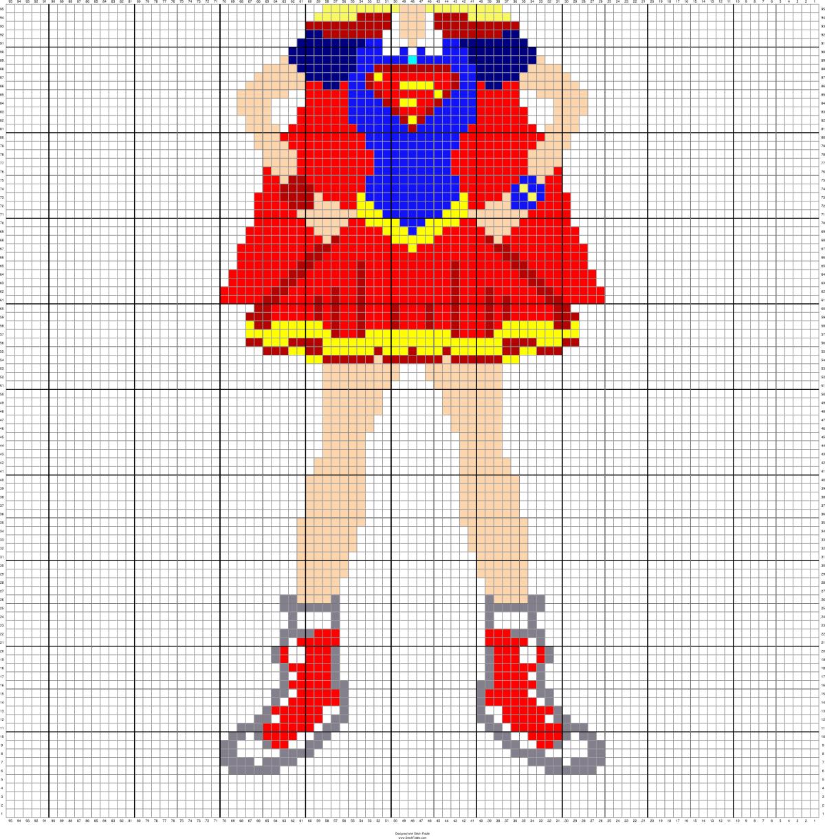 SUPER GIRL 95 X 95 MINI C2C GRAPH SQUARES = APPROX 40\