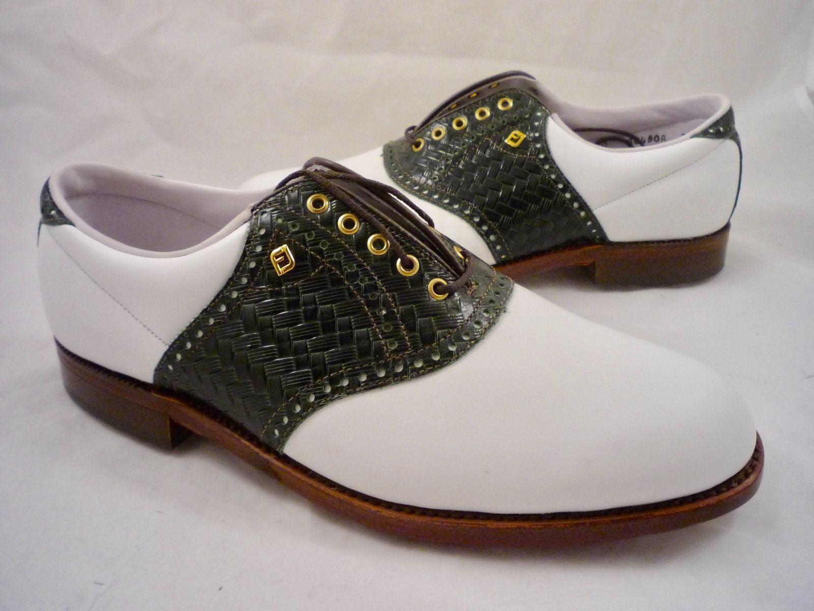 ce36c1fca18 FootJoy Classics Originals 2 Pair Leather Saddle Golf Shoes Brown  400 NEW