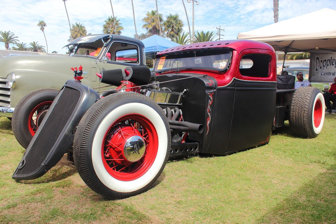 Black and Red Traditional Hot Rod Truck by DrivenByChaos