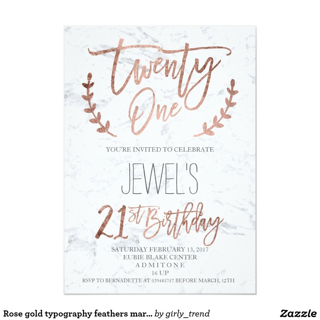 Rose gold typography feathers marble 21st Birthday Card | 21st ...