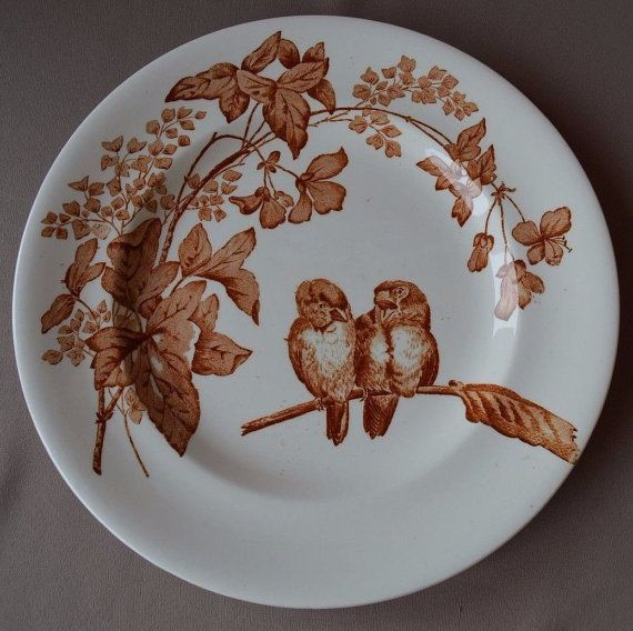 French Vintage Shabby Chic Dinner Plate - Longwy Transferware Plate - Sparrow Bird and Foliage Decor - French Country Cottage Kitchen & French Vintage Shabby Chic Dinner Plate - Longwy Transferware Plate ...