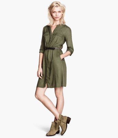 e04b92221f7 HM.COM   LADIES   DRESSES   SHIRT DRESS    29.95   COLOR  KHAKI GREEN    100% RAYON