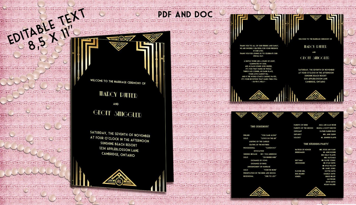 printable wedding program template great gatsby style art deco