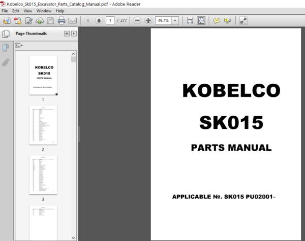 Kobelco Sk015 Excavator Parts Catalog Manual Pdf Downlaod Excavator Parts Parts Catalog Excavator