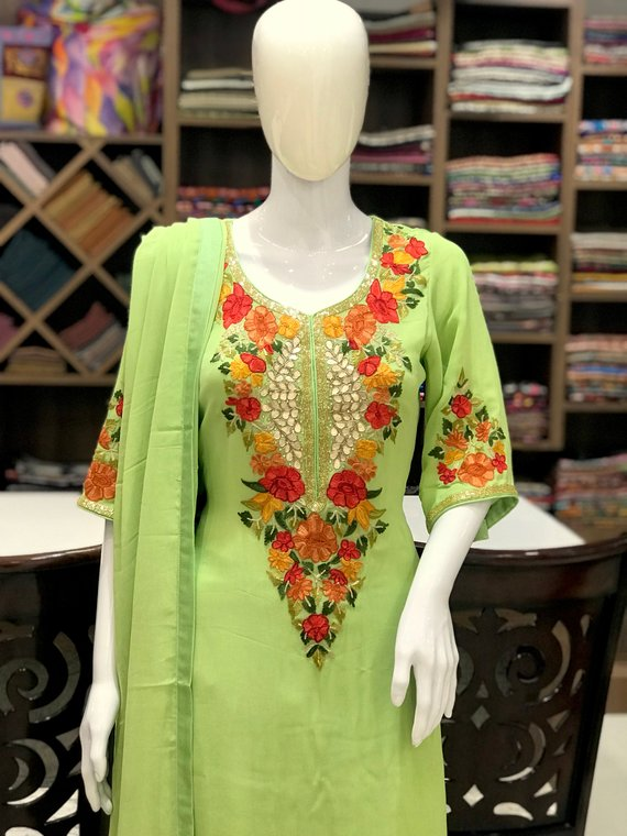 Aari Work Fused with Hand Cut Daana and Gota Pati Work Kashmiri Suit