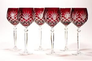 Image detail for -280ml Large Wine Ruby Red Crystal Glasses Diamond | eBay