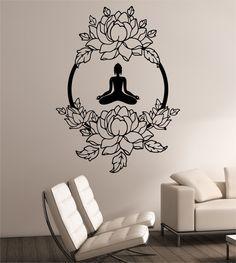Lotus Wall Decal MEDITATION Sticker Art Decor Bedroom Design Mural Interior  Design Buddha Namaste Yoga Peace