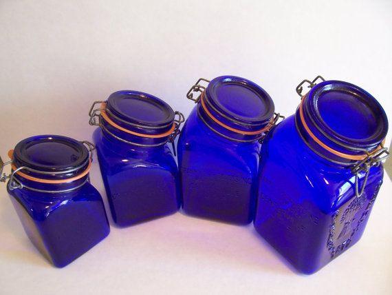vintage cobalt blue glass kitchen canister set s products