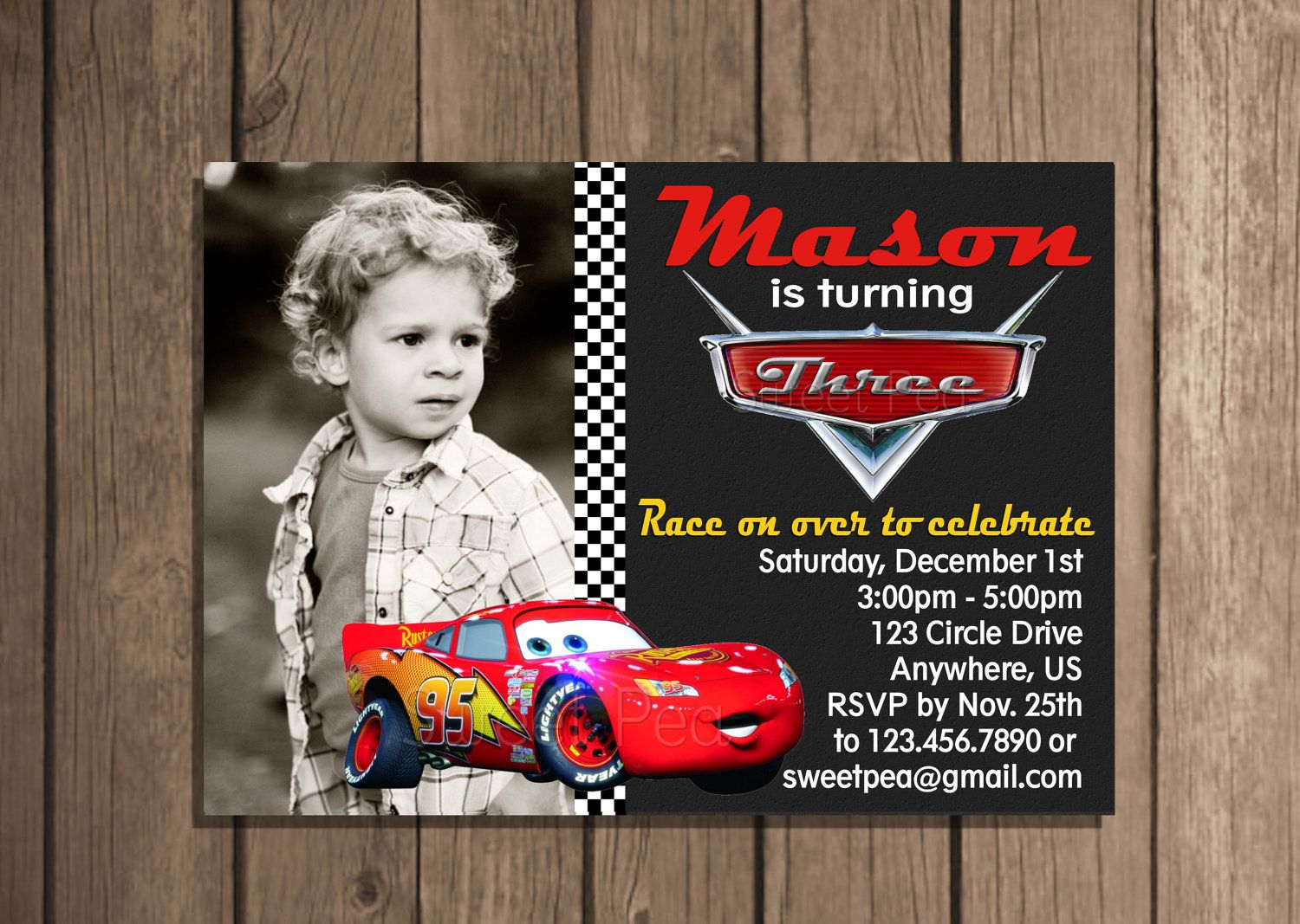 disney cars lightning mcqueen any age photo birthday invitation or disney cars lightning mcqueen any age photo birthday invitation or thank you card digital hig res