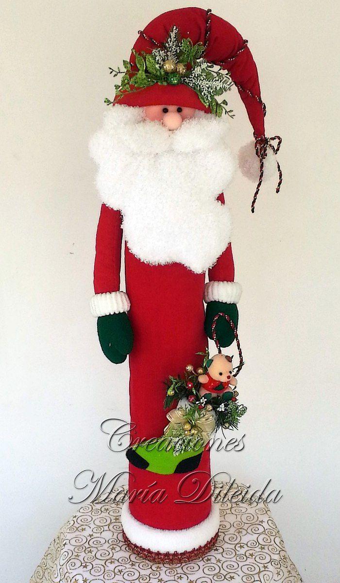 Papa noel con latas de vino diy and crafts navidad for Navidad adornos manualidades navidenas